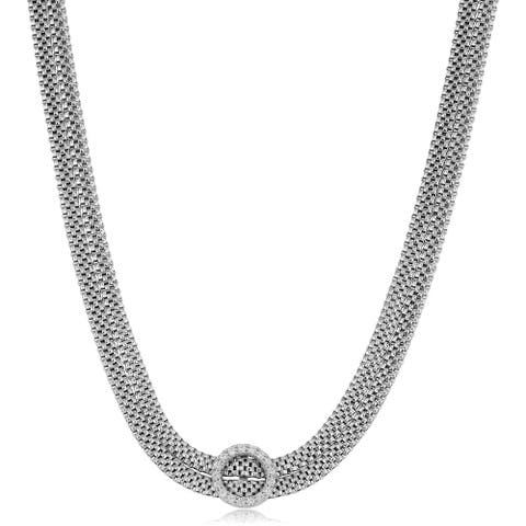 Fremada Italian Rhodium Plated Sterling Silver Cubic Zirconia Choker Necklace (adjusts from 13 - 15 inches)