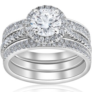18K White Gold GIA Certified 2 1/2 ct Halo Diamond Engagement Eternity Wedding Ring Set Size 6 (E, SI1)