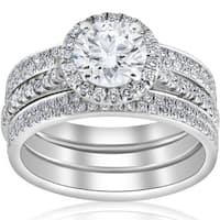 18K White Gold GIA Certified 2 1/2 ct Halo Diamond Engagement Eternity Wedding Ring Set Size 6  (E, SI1)