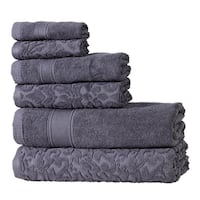 Intradeglobal's  Premium Cotton 6 Pc Bath Towel Set Perfect for Home, Bathrooms, Pool and Gym with a pair of marble knob set