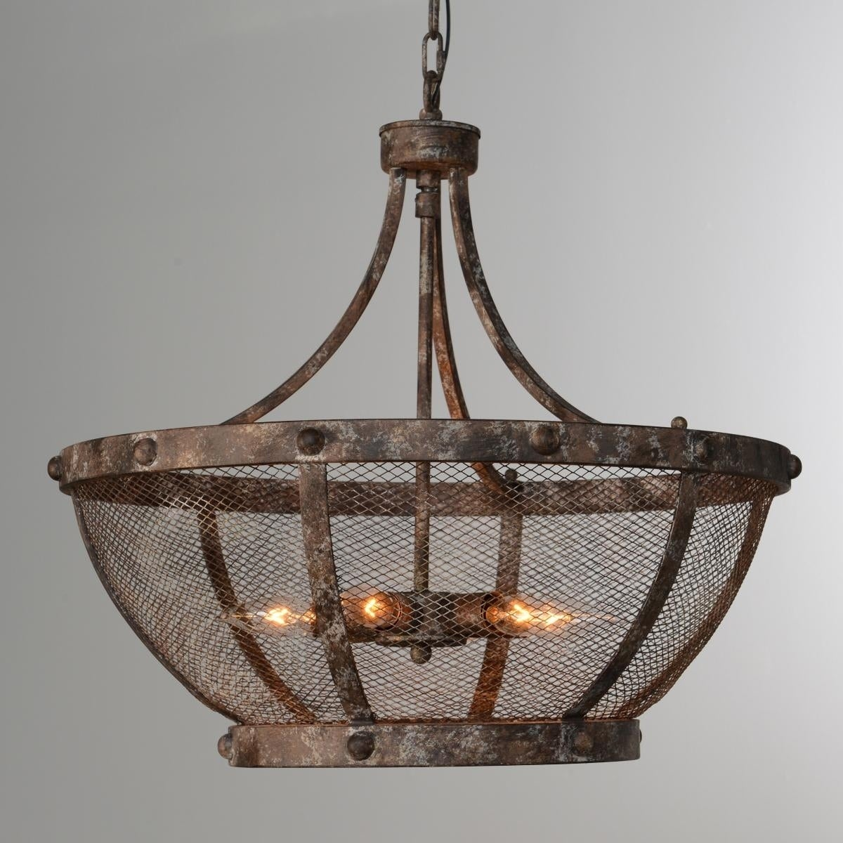 Charleston Rustic Iron Mesh 6 Light Chandelier By Kosas Home