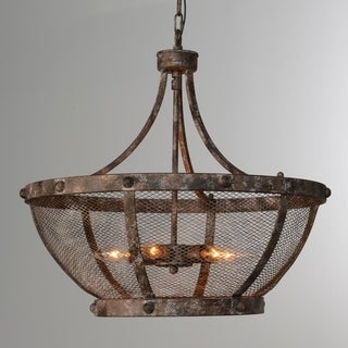 Charleston Antique Bronze 6-Light Iron Mesh Chandelier by Kosas Home