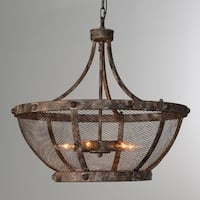 Charleston 6-Light Rustic Iron Mesh Chandelier by Kosas Home - Antique Rustic Bronze - 22H x 24W x 24D