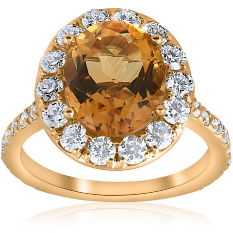 14k Yellow Gold 4 1/2 cttw Oval Citrine Diamond Halo Vintage Ring Engagement (I-J,I2-I3)