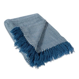 Luxury Cotton Knitted Blue Throw