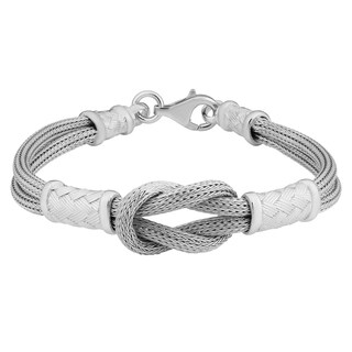 Fremada Italian Rhodium Plated Sterling Silver Knotted Bracelet (7.5 inches)