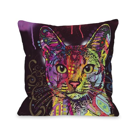 Abyssinian 16 or 18 Inch Throw Pillow by Dean Russo - Orange/Purple