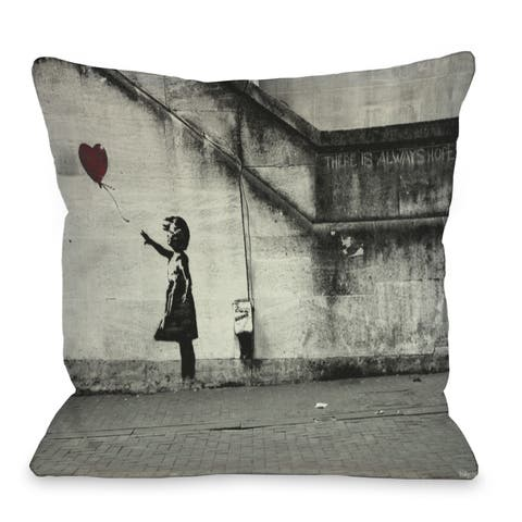 Hope 2 16 or 18 Inch Throw Pillow by Banksy