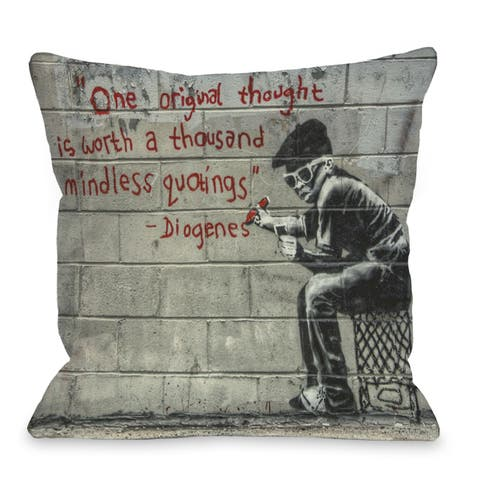 One Original Thought 16 or 18 Inch Throw Pillow by Banksy