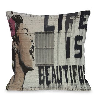 Life is Beautiful 16 or 18 Inch Throw Pillow by Banksy