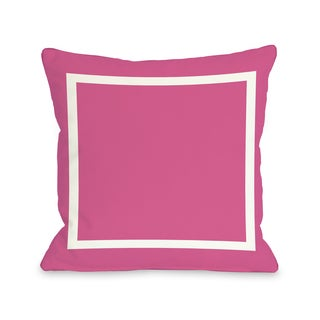 Samantha Simple Square - Hot Pink 16 or 18 Inch Throw Pillow by OBC