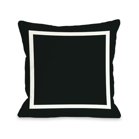 Samantha Simple Square - Black 16 or 18 Inch Throw Pillow by OBC