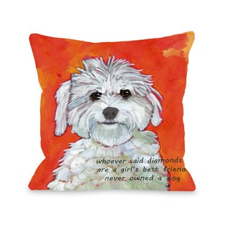 Girl's Best Friend 16 or 18 Inch Throw Pillow by Ursula Dodge