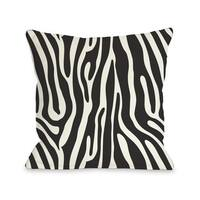 Raffi Zebra - Black White 16 or 18 Inch Throw Pillow by OBC