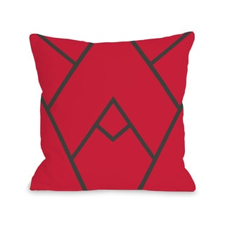 Mountain Peak - Red  16 or 18 Inch Throw Pillow by OBC