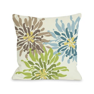 Lowell Floral - Blue Green Brown 16 or 18 Inch Throw Pillow by OBC