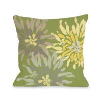 Lowell Floral - Green Naturals 16 or 18 Inch Throw Pillow by OBC