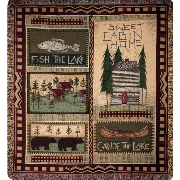 Manual Woodworkers Big Bear Lodge Multi Color Tapestry Throw