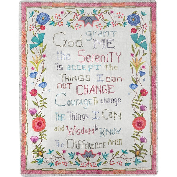 """Manual Woodworkers """"GOD, GRANT ME THE SERENITY"""" Multi Color Tapestry Throw"""