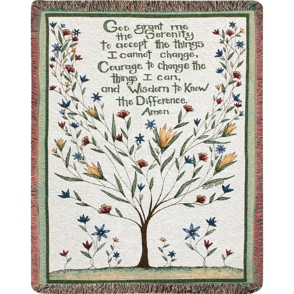 "Manual Woodworkers ""Serenity Prayer"" Multi Color Tapestry Throw"