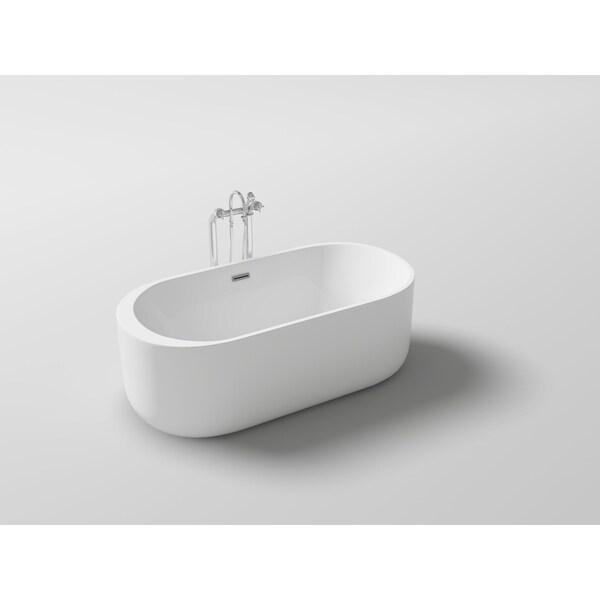 Shop Lyngby 67 Quot Acrylic Oval Freestanding Bathtub Free