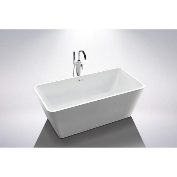 Shop Holbaek 67 Quot Rectangular Acrylic Freestanding Bathtub