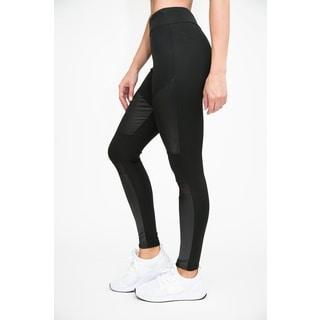 RAG Women's Active Leather-Look Legging with Mesh Insert (Pack of 2)