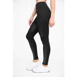 RAG Women's Active Leather-Look Legging with Mesh Insert (Pack of 2) (More options available)