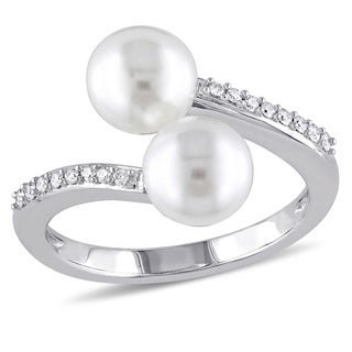 Miadora Signature Collection 14k White Gold Cultured Freshwater Pearl and 1/10ct TDW Diamond Bypass
