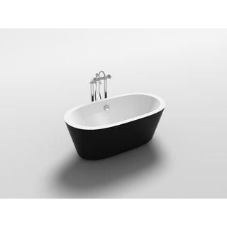 """Kolding 67"""" Black Acrylic Oval Freestanding Bathtub"""