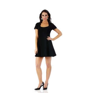 Lamonir Short Dress with Cap Sleeves and Fit-n-Flair Bodice