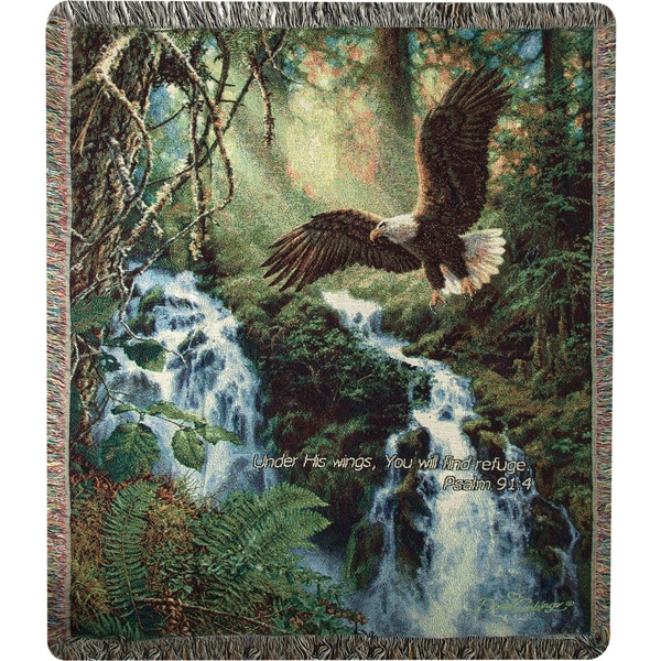 Manual Woodworkers EAGLES FLIGHT W/VERSE Multi Color Tapestry Throw