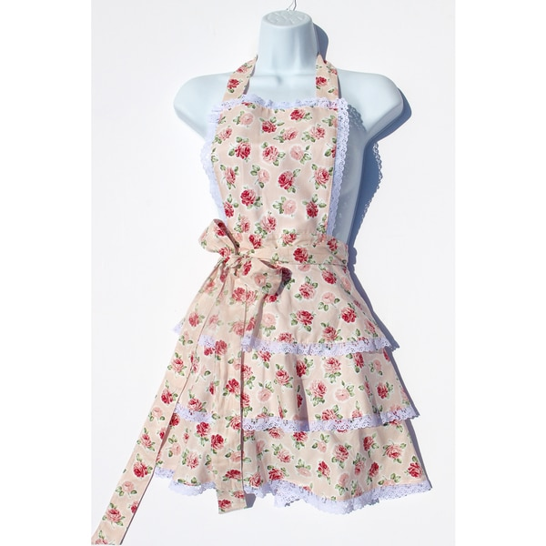 Womenu0026#x27;s Stop And Smell The Ros Pink Floral Kitchen Apron