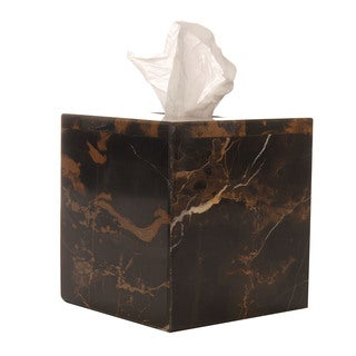 Rembrandt Home Black and Brown Marble Tissue Box Cover