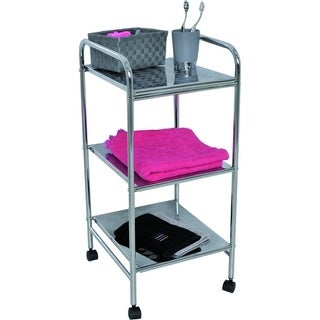 Evideco Bathroom Utility Storage Rolling Cart 3 Shelves Metal Chrome