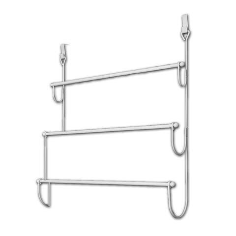Evideco Over the Door Towel Rack Organizer 3 Bars Metal White