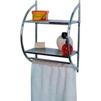 Evideco Wall Mounted Towel Rack Organizer 2 Shelves 2 Bars Metal