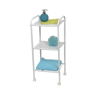 Evideco Bathroom Storage Rolling Cart 3 Shelves Metal White