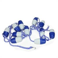 20' Blue and White Swimming Pool Divider and Safety Rope Line with Floats