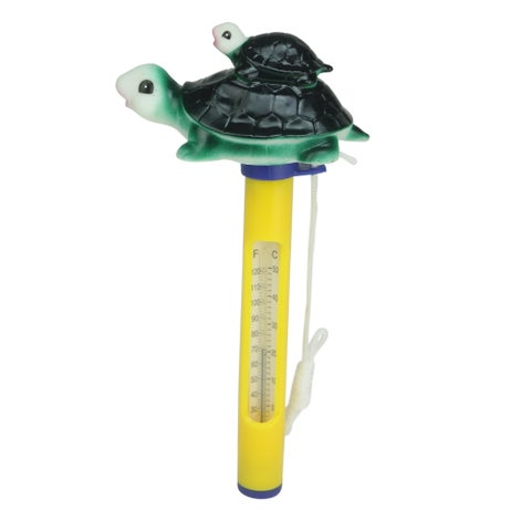"""9"""" Turtle Family Floating Swimming Pool Thermometer with Cord - Green"""