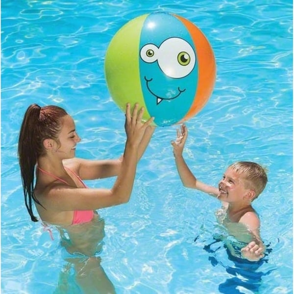 "24"" Blue, Orange and Green Monster-Theme 6-Panel Inflatable Beach Play Ball Swimming Pool Toy - Blue"