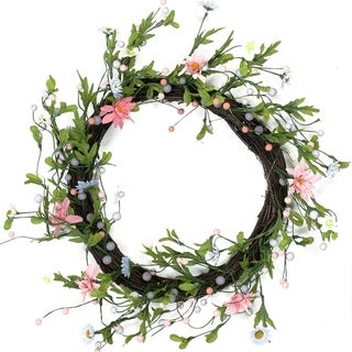 "15"" Green Pink and Purple Decorative Artificial Spring Floral Twig Wreath - Unlit"