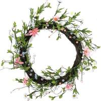 """15"""" Green  Pink and Purple Decorative Artificial Spring Floral Twig Wreath - Unlit"""