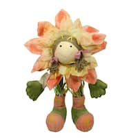 "29""  Peach  Green and Yellow Spring Floral Standing Sunflower Girl Decorative Figure"