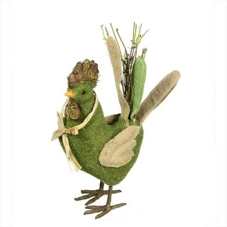 """15"""" Green and Brown Decorative Standing Chicken Spring Table Top Figure"""
