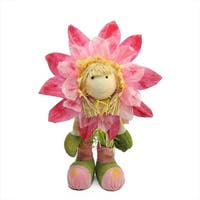 "29"" Pink  Green and Yellow Spring Floral Standing Sunflower Girl Decorative Figure"