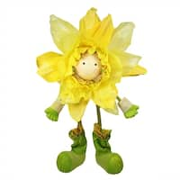 Yellow and Green Spring Floral Standing Sunflower Girl Decorative Figure