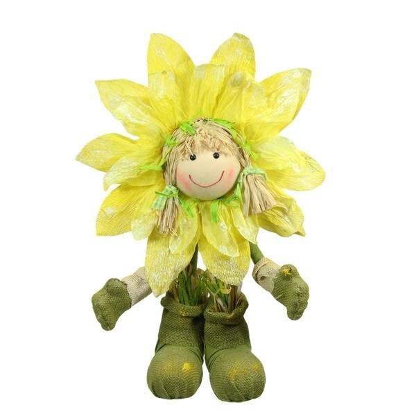 "29"" Green and Yellow Spring Floral Standing Sunflower Girl Decorative Figure"