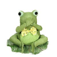 """7.5"""" Green  Yellow and White Decorative Sitting Frog Spring Table Top Decoration"""