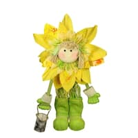 "20.5"" Green and Yellow Spring Floral Standing Sunflower Girl Decorative Figure"